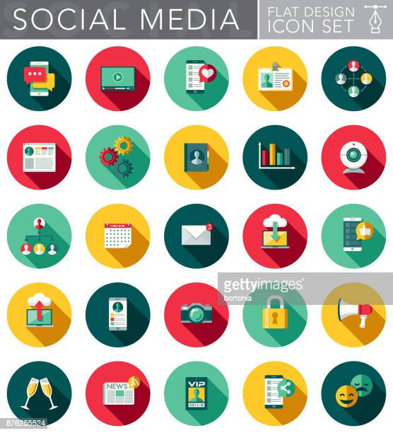 Social Media Flat Design Icon Set with Side Shadow