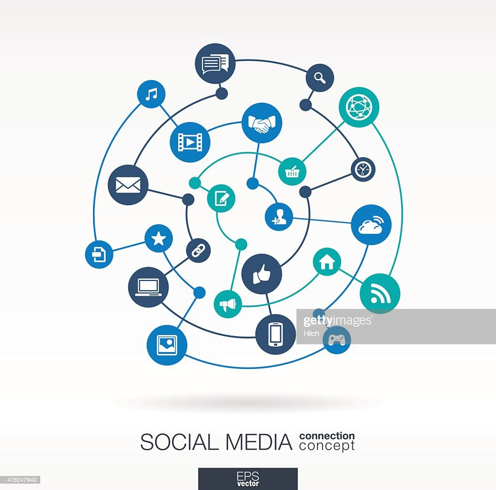 Social media flat integrated icons. Vector connection concept infographic illustration