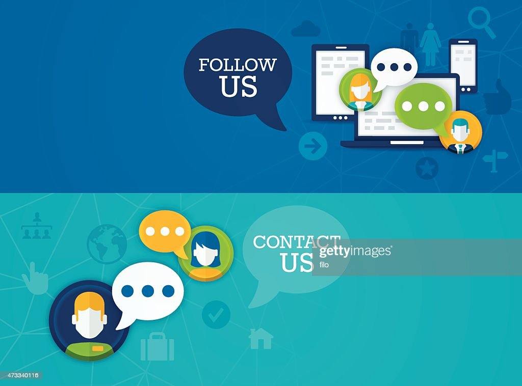 Social Media Follow Us Contact Us Banners : stock illustration