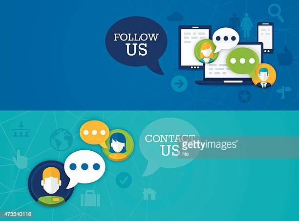 Social Media Follow Us Contact Us Banners