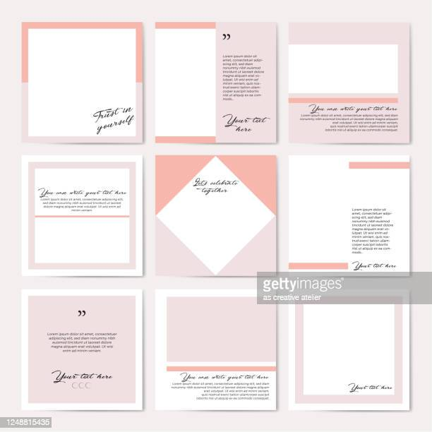 social media frame template - pastel color. - auto post production filter stock illustrations