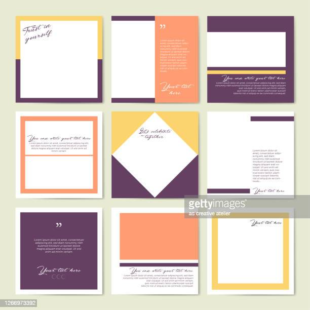 social media frame template - pastel colors. - auto post production filter stock illustrations