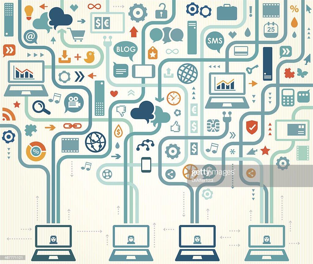 Social Media Gathering : Vector Art