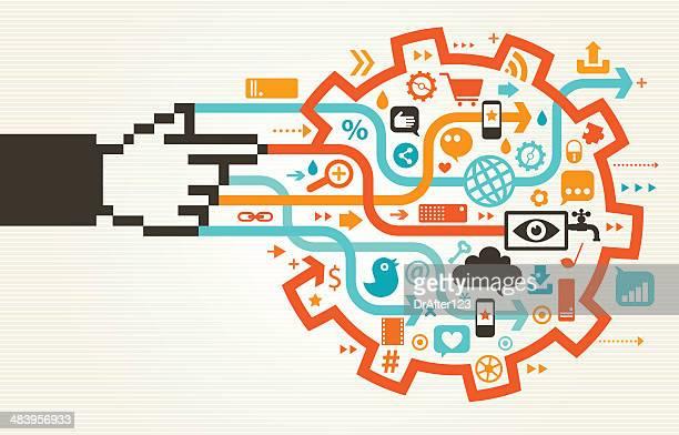 social media gear concept - sociology stock illustrations, clip art, cartoons, & icons