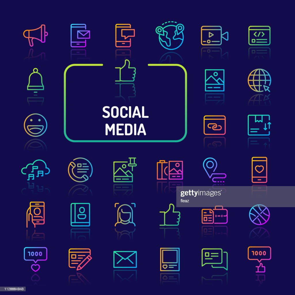 Social Media Gradient Line Icon Set (EPS 10)