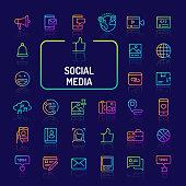 Social Media Gradient Line Icon Set (EPS 10)