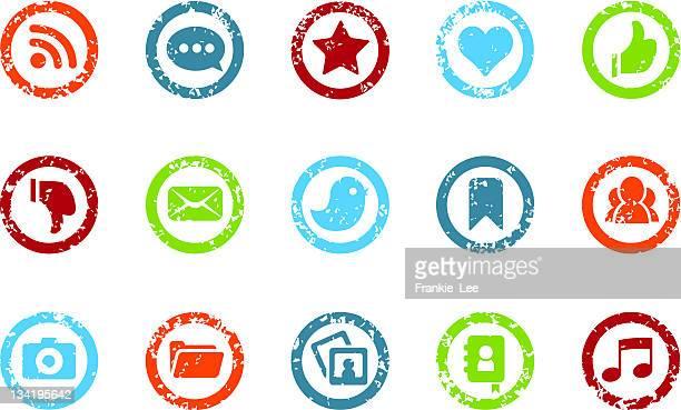 social-media-grunge-symbole - erodiert stock-grafiken, -clipart, -cartoons und -symbole