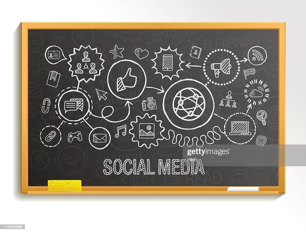Social media hand draw integrate icons set on school board.
