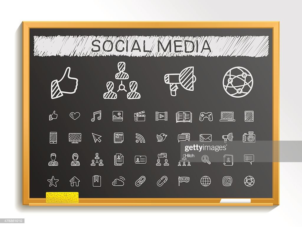 Social media hand drawing sketch icons. Vector doodle blackboard illustration