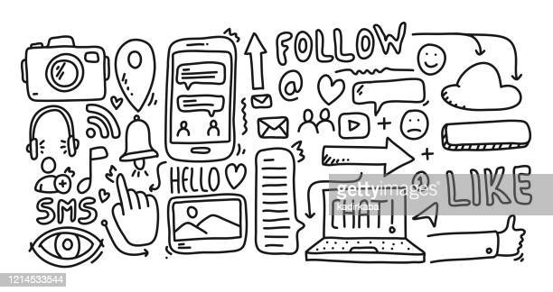 social media hand drawn, doodle and vector illustration icons set - thumb stock illustrations