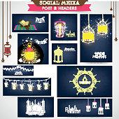 Social media header or banner for Ramadan Kareem celebration.
