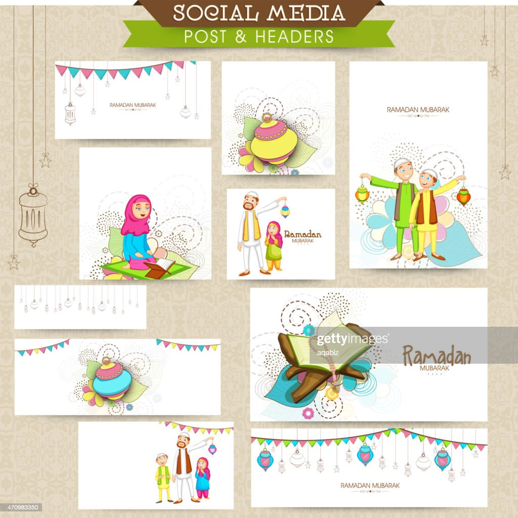 Social media header or banner for Ramadan Kareem celebration.