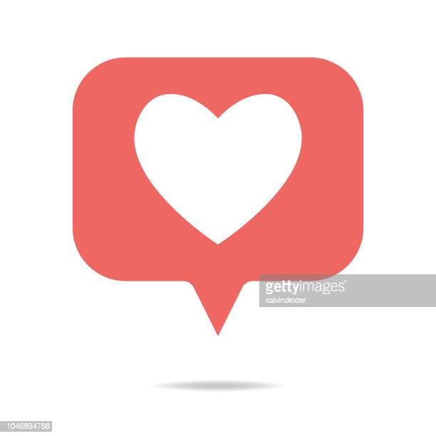 social media heart shape on a speech bubble - like button stock illustrations
