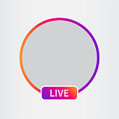 Social media icon avatar. Live video streaming. Frame colorful gradient. Vector illustration