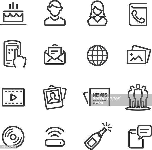 Ícones de redes sociais-linha de série