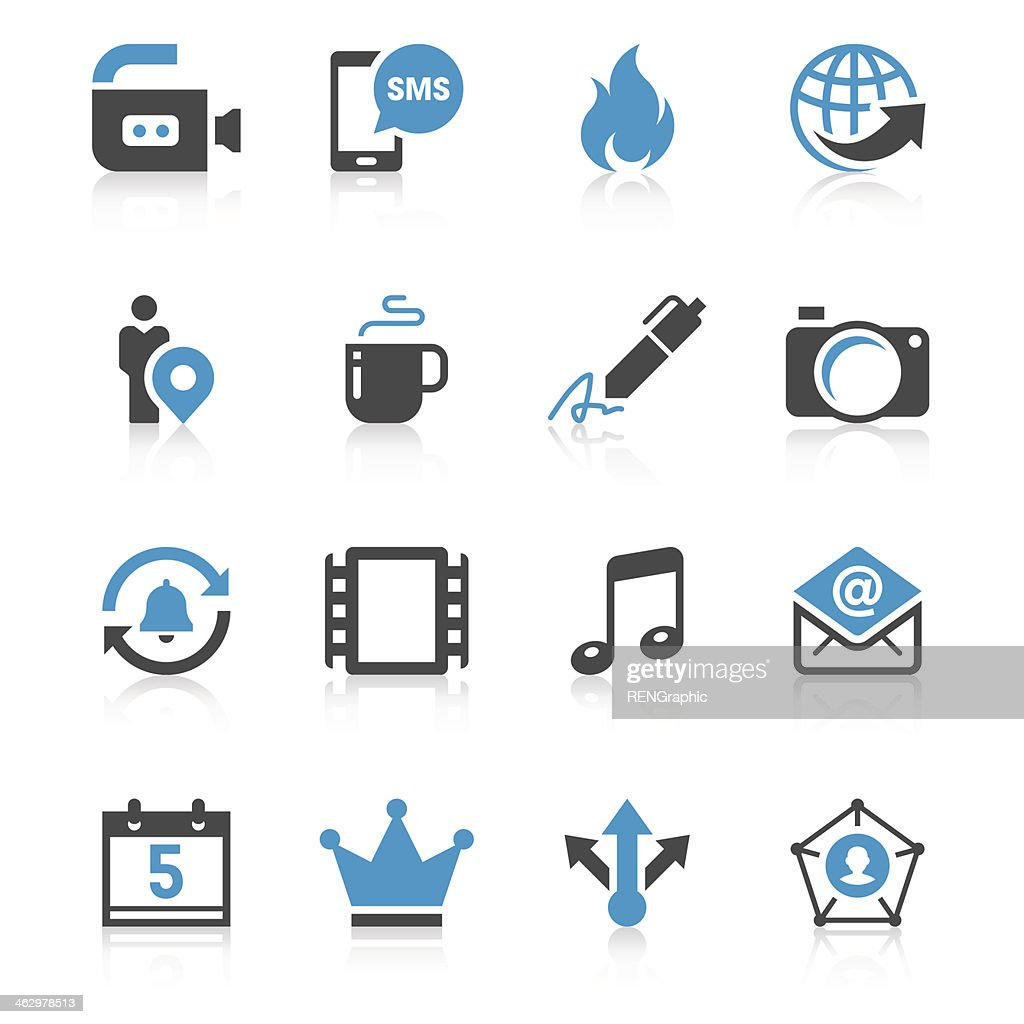 Social media icon set in blue and black print
