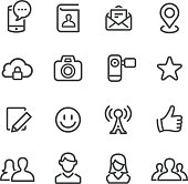 Social Media Icon Set - Line Series