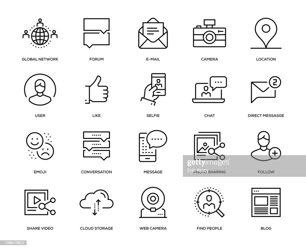 Social Media Icon Set : Stock Illustration
