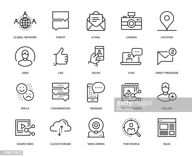 social media icon set - line art stock illustrations