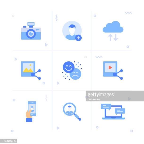 social media icon set - social media followers stock illustrations