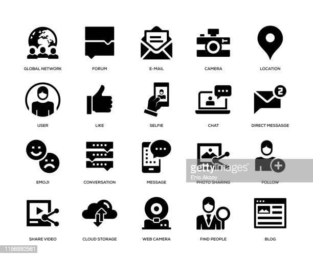 social media icon set - webcam media apparaat stock illustrations