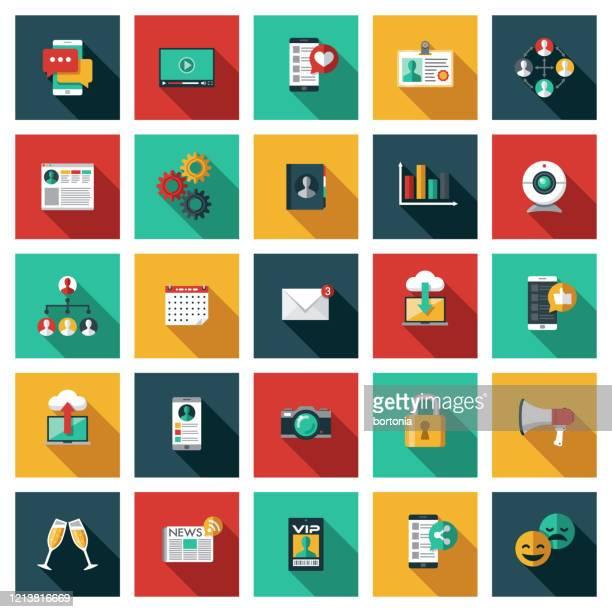 social media icon set - adressbuch stock-grafiken, -clipart, -cartoons und -symbole