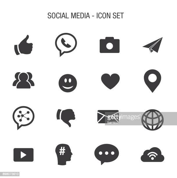social media icon set - group of objects stock illustrations