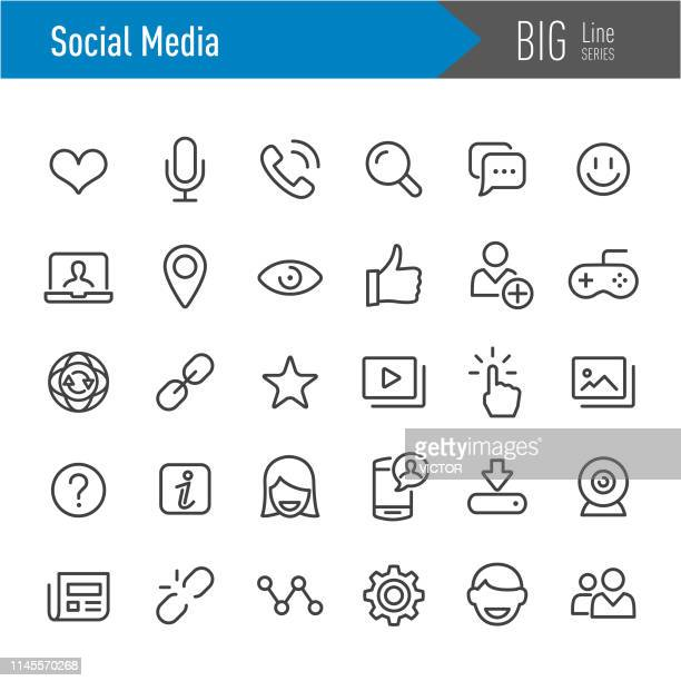 social media icons - big line series - looking at view stock illustrations