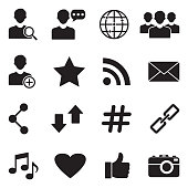 Social Media Icons. Black Flat Design. Vector Illustration.