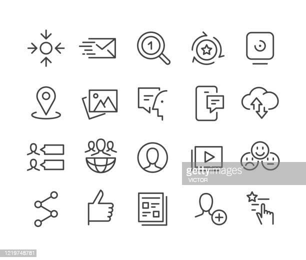 social media - icons - classic line series - accessibility stock illustrations