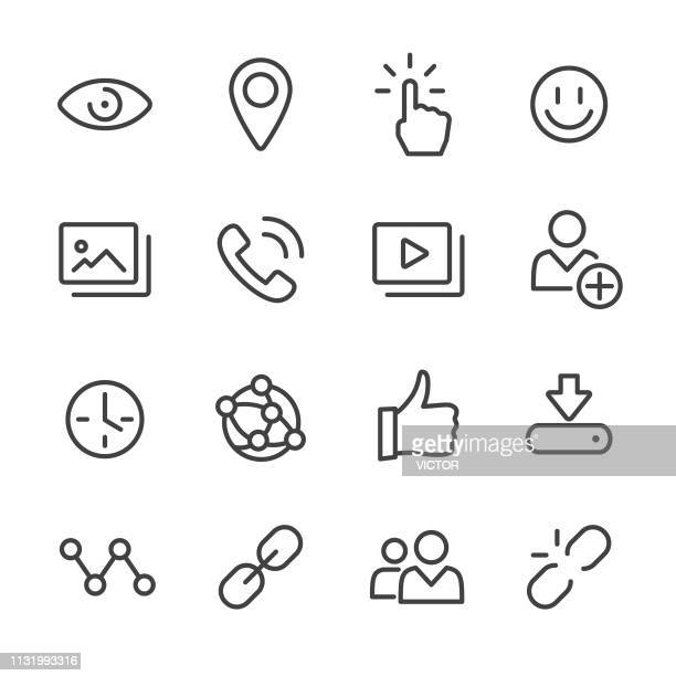 social media icons-line series - fotografie stock-grafiken, -clipart, -cartoons und -symbole