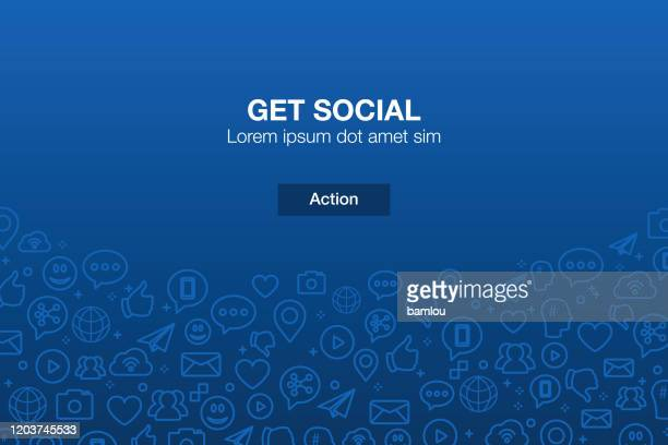 stockillustraties, clipart, cartoons en iconen met achtergrond van social media-pictogrammen mozaïek met call-to-action - social media
