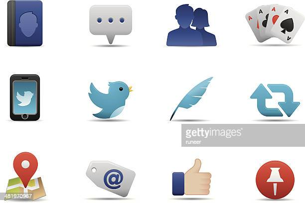 social media icons | premium matte series - online messaging stock illustrations