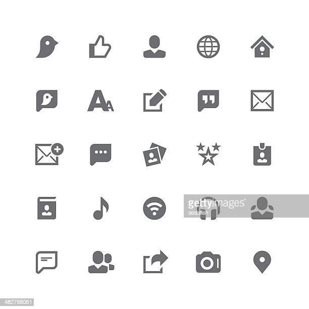 ilustrações, clipart, desenhos animados e ícones de ícones de mídia social/série de retina - ícone de redes sociais