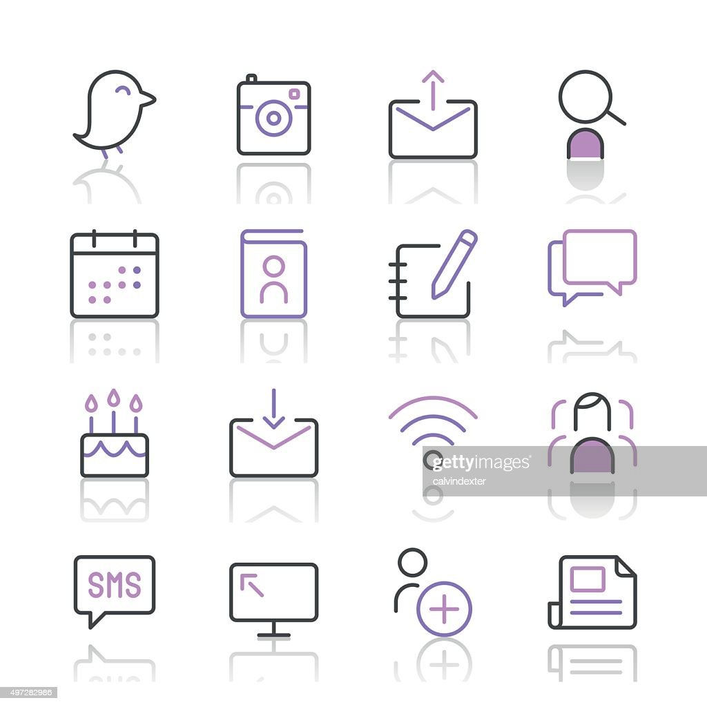 Social Media Icons set 1 | Purple Line series