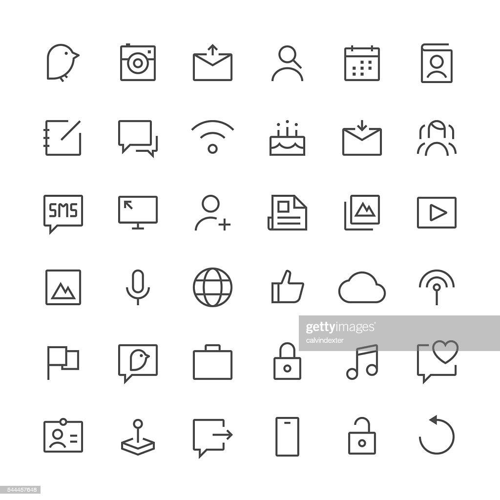 Social Media icons set 1 | Thin Line series