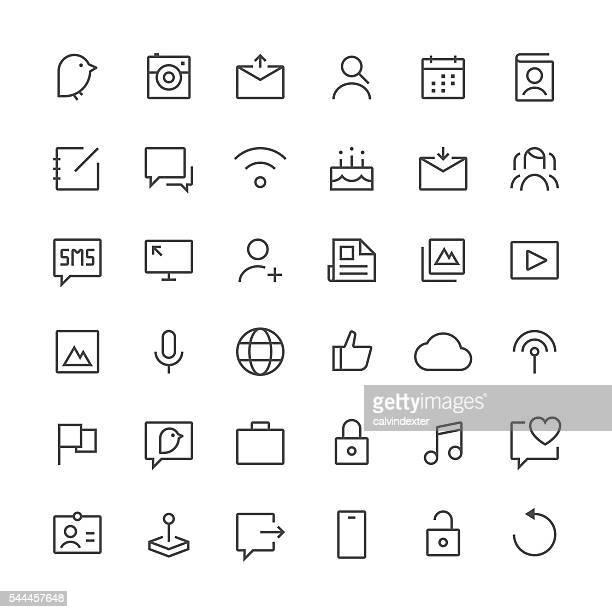 social media icons set 1 | thin line series - multimedia stock illustrations