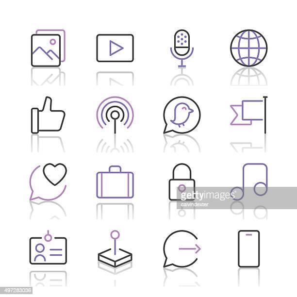 Social Media Icons set 2 | Purple Line series
