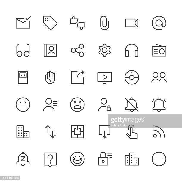 ilustrações, clipart, desenhos animados e ícones de ícones de mídia social definido 3/fina linha series - ícone de redes sociais