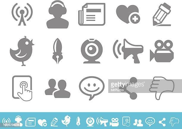 social media icons set - webcam media apparaat stock illustrations
