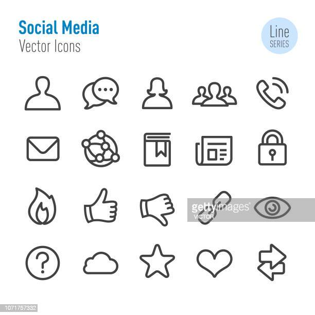 social media icons set - vector line series - thumbs down stock illustrations