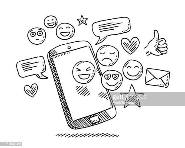 social media icons smartphone-zeichnung - frankramspott stock-grafiken, -clipart, -cartoons und -symbole