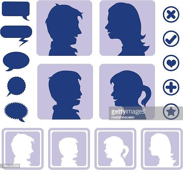 illustrations, cliparts, dessins animés et icônes de les médias sociaux icônes de créer un avatar - chat profil