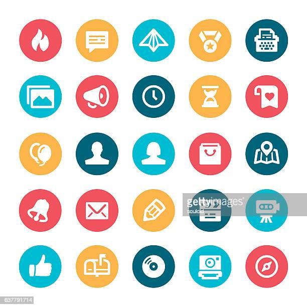 ilustrações, clipart, desenhos animados e ícones de ícones de mídia social  - ícone de redes sociais