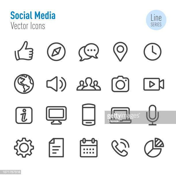 social media icons - vector line series - microphone transmission stock illustrations