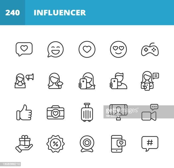 illustrations, cliparts, dessins animés et icônes de icônes de la ligne influenceur des médias sociaux. course modifiable. pixel parfait. pour mobile et web. contient des icônes telles que la messagerie en ligne, application mobile, selfie, marketing numérique, publicité, streaming vidéo, événement e - génération du millénaire