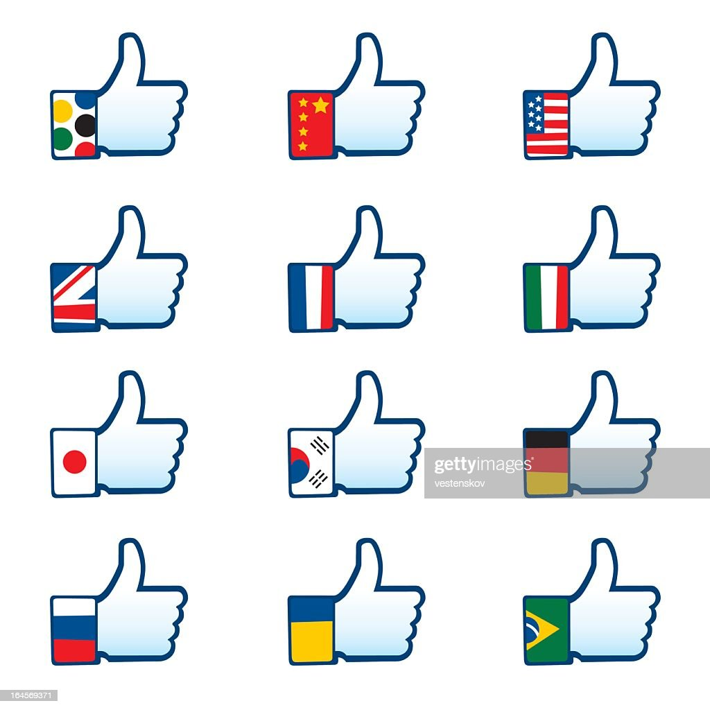 social media like icon with different nationality