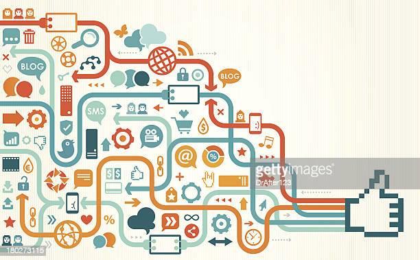 ilustrações, clipart, desenhos animados e ícones de mídias sociais como desenho linear - ícone de redes sociais