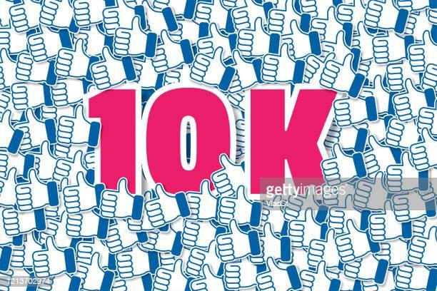 10k social media likes followers subscribers influencer - social media followers stock illustrations
