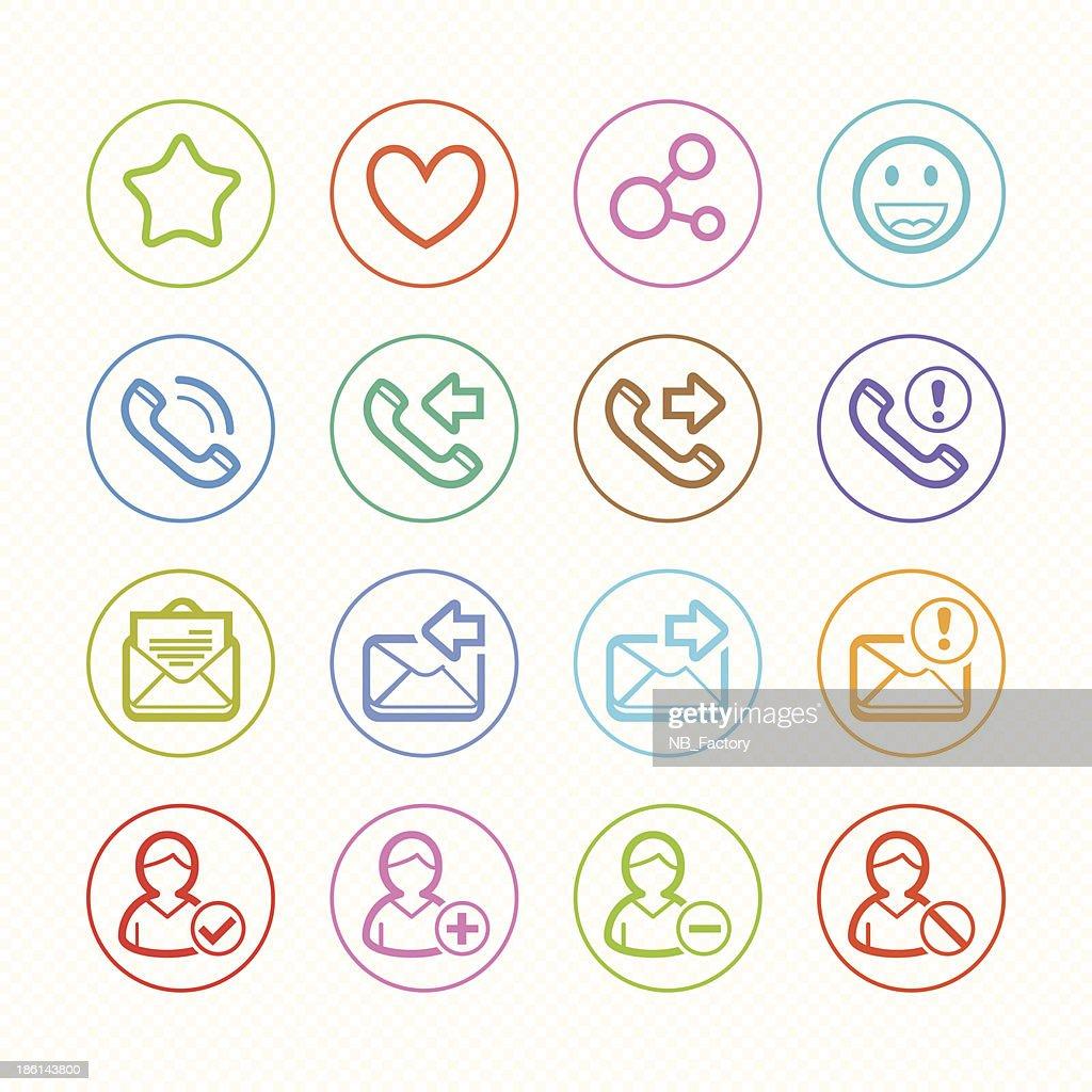 Social Media line color icons set # Vector illustration